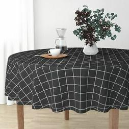 Round Tablecloth Black And White Grid Squares Check Black Wh