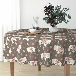 Round Tablecloth Buffalo Bison Tribal Floral Modern Baby Nav