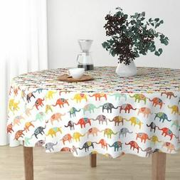 Round Tablecloth Circus Elephant Colorful Kids Children Anim