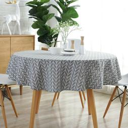 Round Tablecloth Cotton Linen Cover Home Kitchen Party Moder