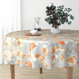 Round Tablecloth Fish Koi Japanese Garden Pond Orange Koi Fi