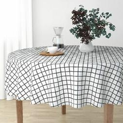 Round Tablecloth Geometric Check Raster Abstract Black And W