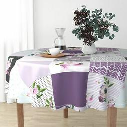 Round Tablecloth Grey Floral Whole Cloth Cheater Lavender Bo