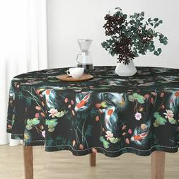 Round Tablecloth Japanese Garden Black Koi Frogs Japanese Ga