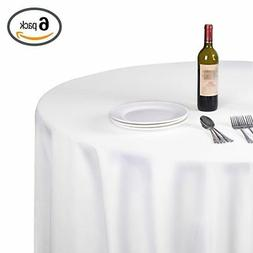 EMART Round Tablecloth, 120 inch Diameter White 100% Polyest
