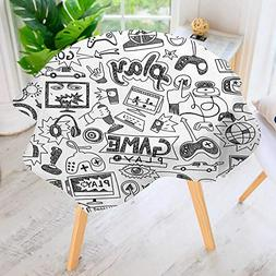 UHOO2018 Round Tablecloth Polyester-Black and White Sketch S