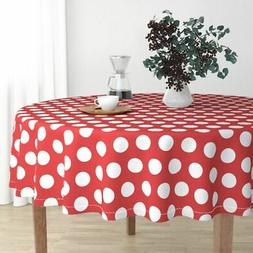Round Tablecloth Red And White Polka Dot Retro Dots Two Inch