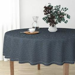Round Tablecloth Sashiko Japanese Traditional Embroidery Fab