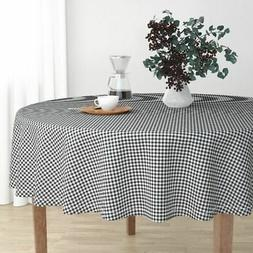 Round Tablecloth Small Check Gingham Buffalo Black And White