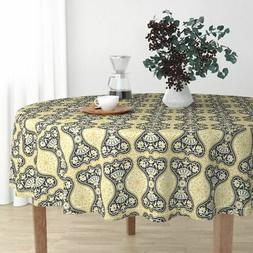 Round Tablecloth Steampunk Gold Black Baroque Japanese Art C