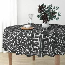 Round Tablecloth Stripes Check Black And White Abstract Geom
