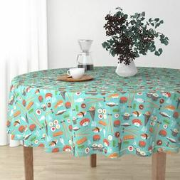 Round Tablecloth Sushi Japanese Kawaii Food Whimsical Aqua K