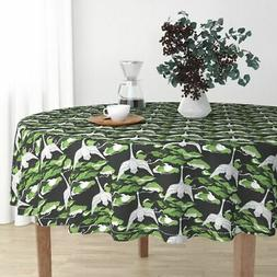 Round Tablecloth Swan Sewing Sashiko Japanese Handmade Sky B
