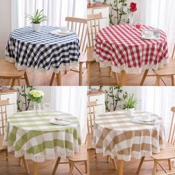 Round Tablecloth Thick Plaid Cotton <font><b>Linen</b></font