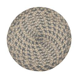 LinenTablecloth Round Woven Placemats , White/Grey
