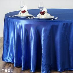 "ROYAL BLUE 108"" ROUND Satin TABLECLOTH Wedding Kitchen Table"