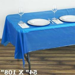 "Royal Blue RECTANGLE 54x108"" Disposable Plastic TABLE COVER"