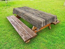 Rustic Outdoor Picnic Tablecloth Long Farmhouse Planks Print