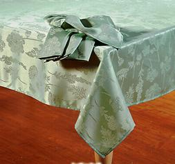 """Sage Green Wildflower Spring Decor Tablecloth 60""""x 84"""" OVAL"""