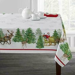 Benson Mills Santas Sleigh Christmas Easy Care Tablecloth 70