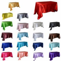 Satin Rectangular Tablecloth for Wedding Birthday Party Hote