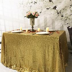 TRLYC 60 x 126 Inch Sequin Table Cloth-Gold