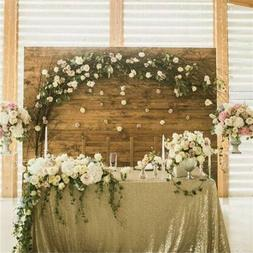 """Sequin Tablecloth 50""""x80"""" Matte Gold Saprkly Table Linen Wed"""