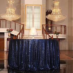 "PartyDelight Sequin Tablecloth, Round, 70"", Navy Blue"