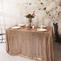 TRLYC Sequin Tablecloth-60x126-Inch-Rose Gold Rectangular Se