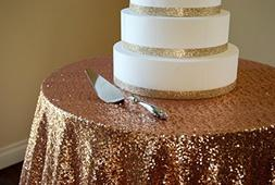 ShinyBeauty Sequin Tablecloth-60in Round-Rose Gold