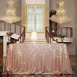 "Sequin Tablecloth Table Overlay Square 50""X50"" ROSE GOLD PAR"