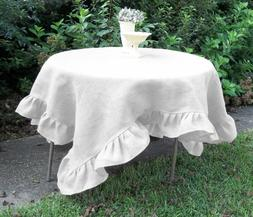 Set of 2 Piece Square Ruffle Table Cloth 600TC Egyptian Cott