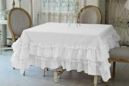 Set of 5pc 800TC Egyptian cotton Multi Ruffle Table Cloth Sq
