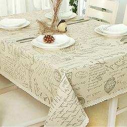 ColorBird Shabby Chic Cotton Linen Tablecloth Letter Printed