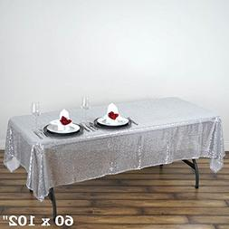 ShiDianYi 60x102 Sequin RECTANGULAR Tablecloth-Silver