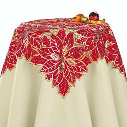 Shimmer Gold Sequins Red Poinsettia Christmas Decor Tableclo