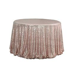 "TRLYC Shiny 72"" Round Sequin Tablecloth for Wedding Party -R"