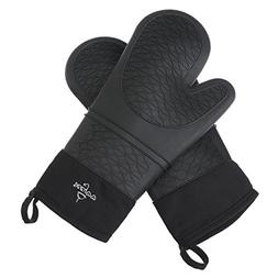 VEEYOO Heat Resistant Black Silicone Oven Mitts - Extra Long
