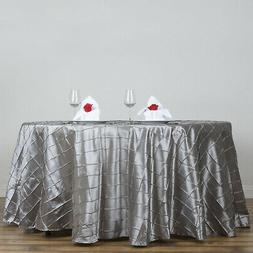 "Silver PINTUCK 108"" ROUND Tablecloth Wedding Party Home Kitc"