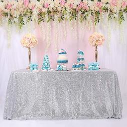 "TRLYC 60""x126"" Silver Rectangle Sequin Tablecloth Banquet/Ce"