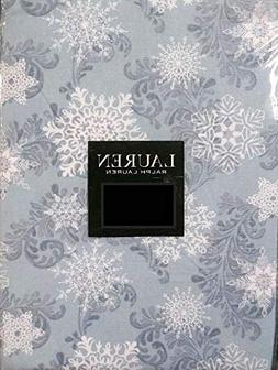 snowfall tablecloth white snowflakes blue