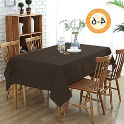 Wimaha Solid Brown Rectangular Tablecloth for Rectangle Tabl