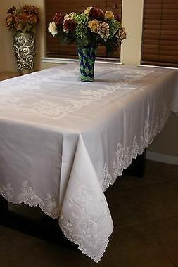 """Solid White 72x90"""" Rectangle Embroidered Wedding Event Table"""