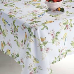"""Songbirds Tablecloth 60""""X84"""" Oblong Spillproof Indoor/Outdoo"""