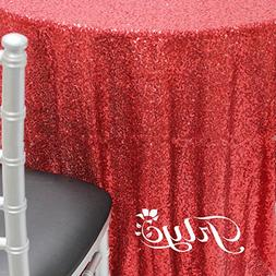 TRLYC Sparkly Red 72 Inch Sequin Tablecloth Sequin Fabric fo