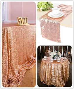 B-COOL Sparkly Rose Gold Sparkly Sequin Glamorous Tablecloth