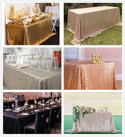"""Sparkly Tablecloth 60""""x102"""" Sequin Tablecloth for Wedding Pa"""