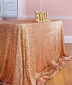 "Sparkly Sequin Tablecloth 90""x132"" Rose Gold Wedding Rectang"