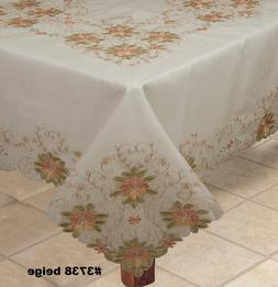 Spring Embroidered Peach Floral Cutwork Sheer Tablecloth & N