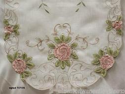 Spring Embroidered Pink Rose Floral Sheer Placemat Table Run